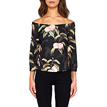Buy Ted Baker Bruklin Peach Blossom Bardot Top, Black Online at johnlewis.com