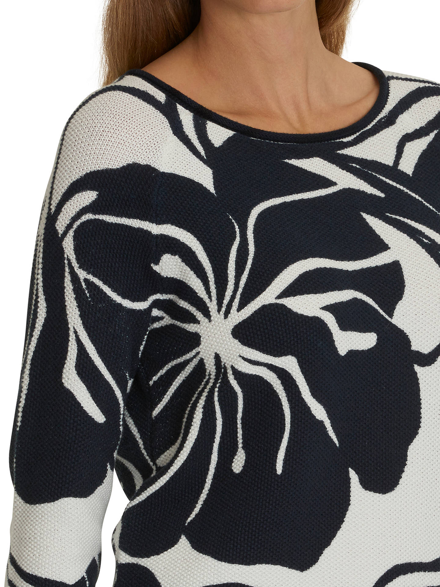 Buy Betty Barclay Floral Print Jumper, Dark Blue/Cream, 10 Online at johnlewis.com