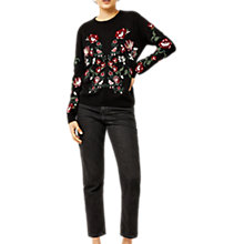 Buy Warehouse Premium Embroidered Jumper, Black Online at johnlewis.com