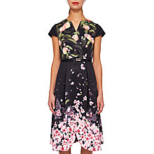Buy Ted Baker Fredica Peach Blossom Wrap Midi Dress, Black Online at johnlewis.com