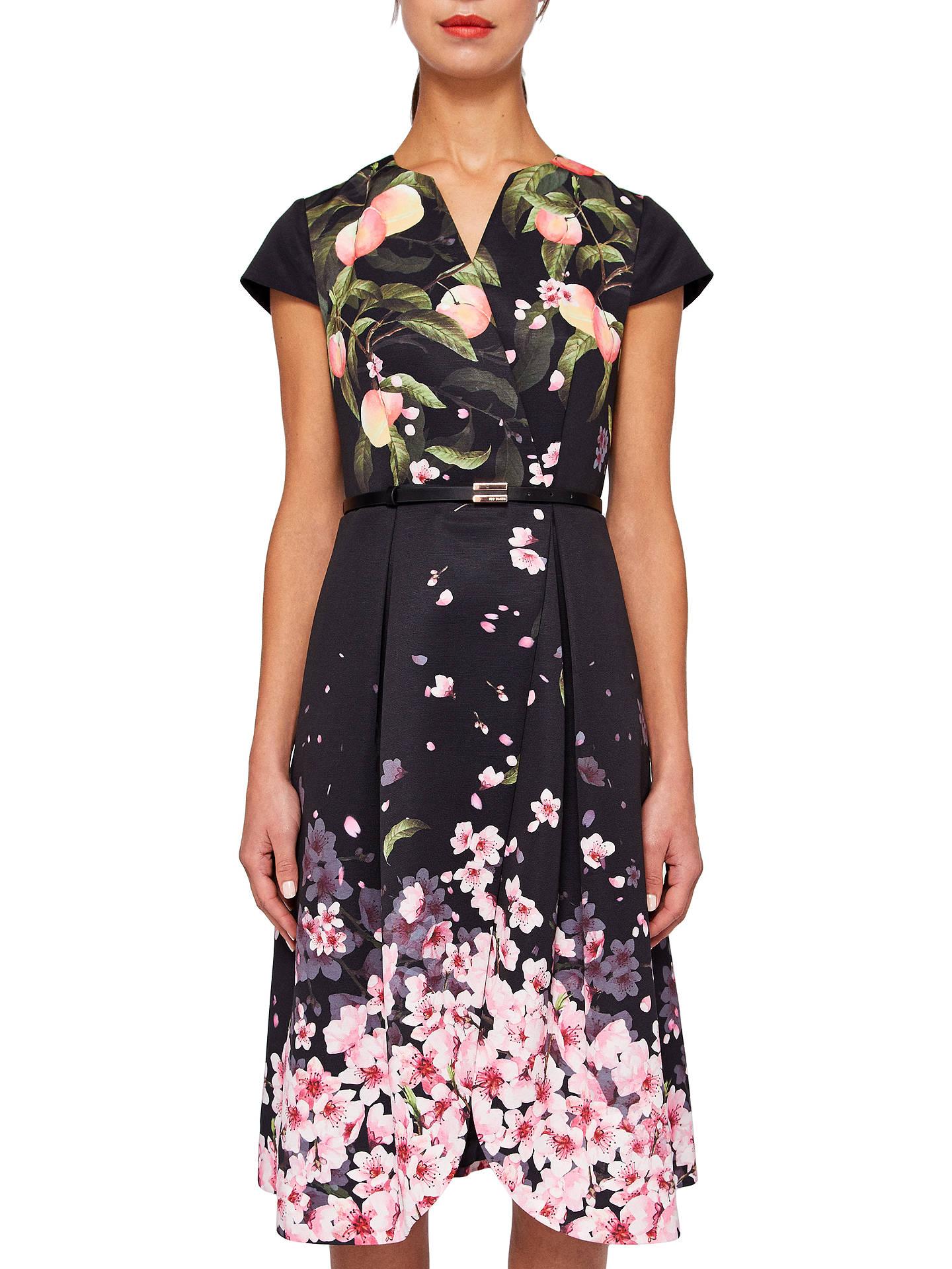 c9ff20352b7 Buy Ted Baker Fredica Peach Blossom Wrap Midi Dress, Black, 0 Online at  johnlewis ...