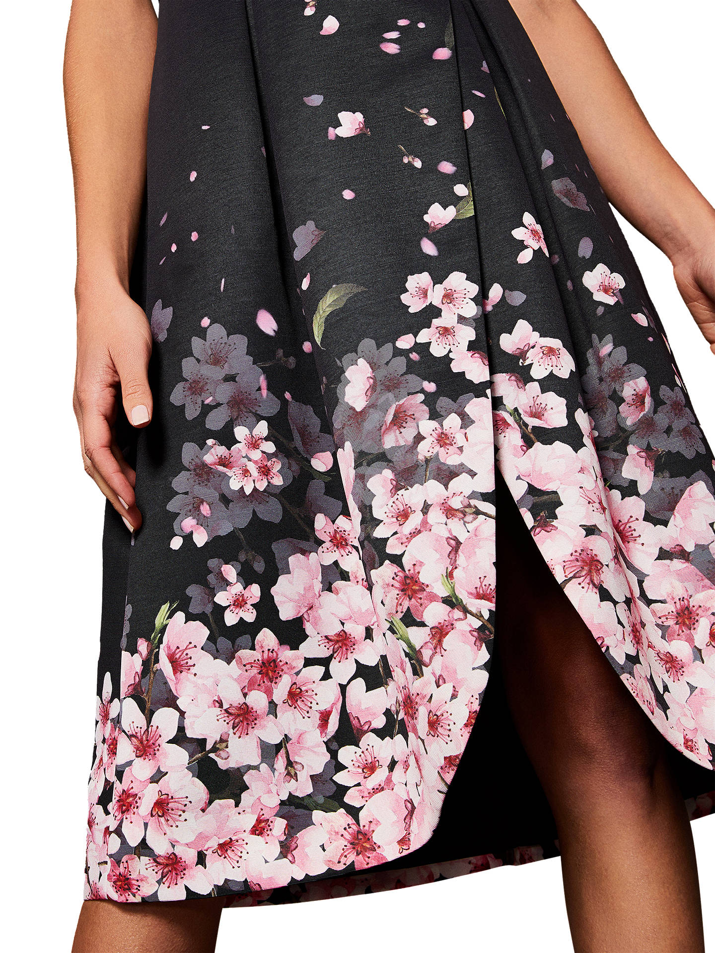 fast delivery exclusive range cheap prices Ted Baker Fredica Peach Blossom Wrap Midi Dress, Black at John ...
