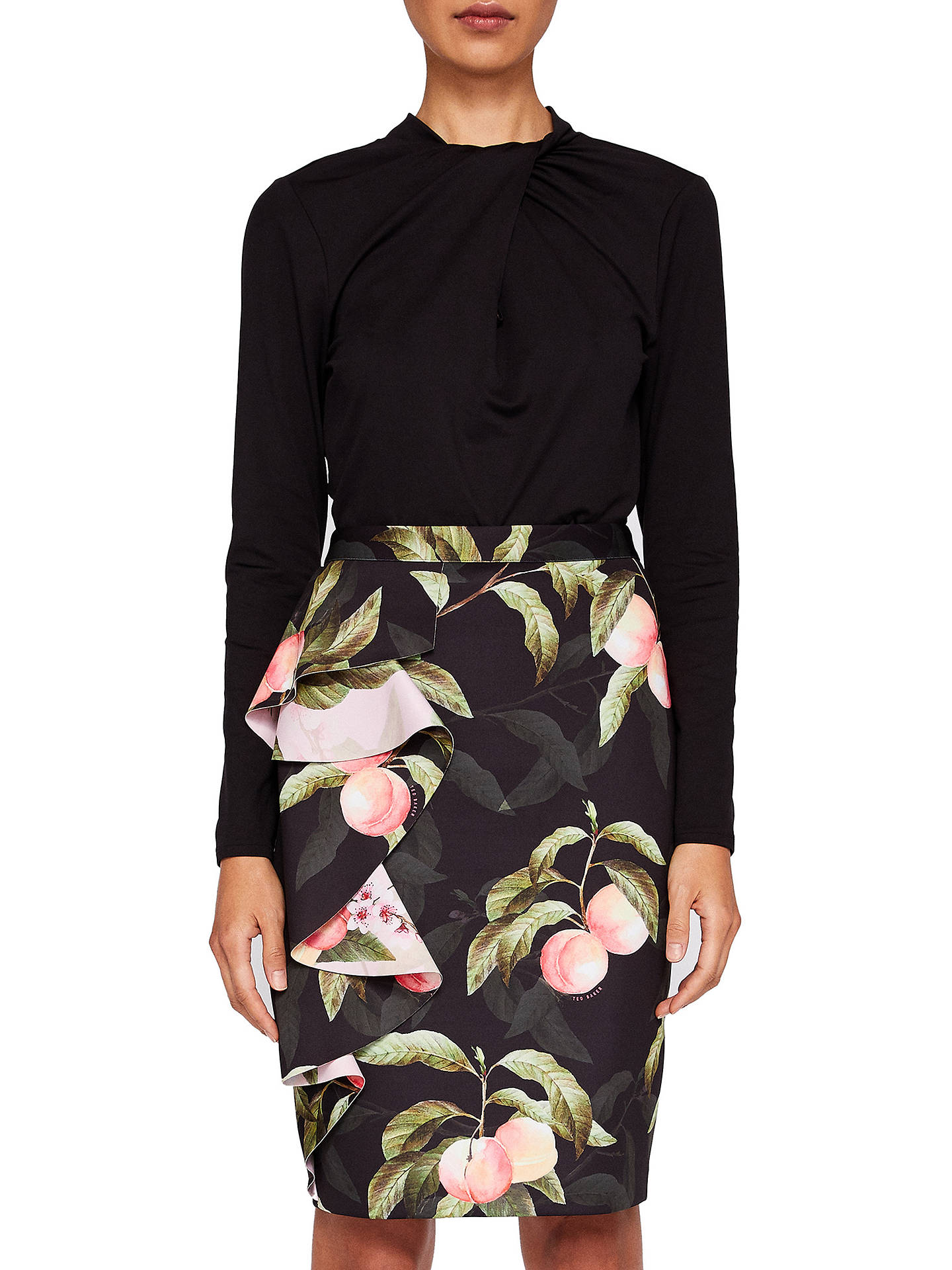 44af84250b Buy Ted Baker Blayyke Peach Blossom Ruffle Midi Skirt, Black, 0 Online at  johnlewis ...