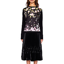 Buy Ted Baker Anthya Peach Blossom Woven Front Jumper, Black Online at johnlewis.com