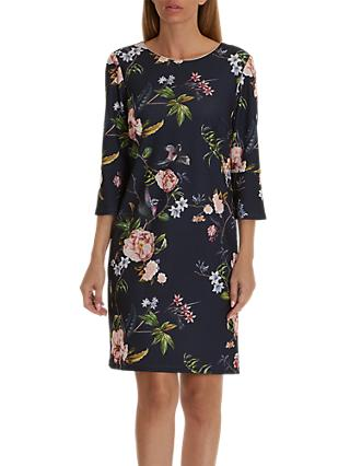 Betty Barclay Floral Print Jersey Dress, Dark Blue/Rose