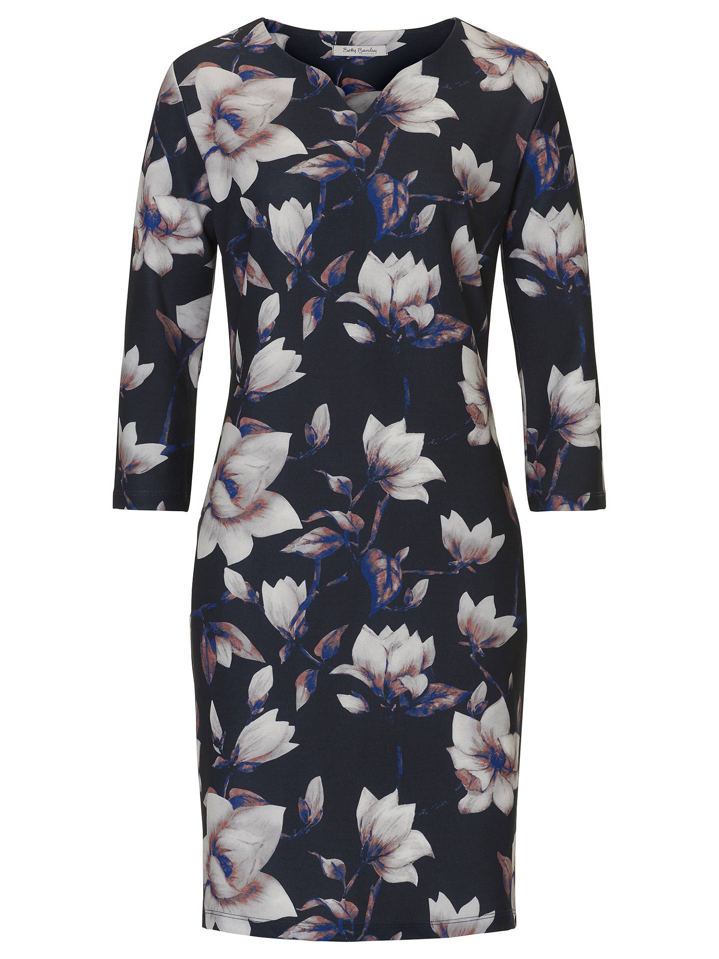 BuyBetty Barclay Floral Print Jersey Dress, Dark Blue/Rose, 10 Online at johnlewis.com
