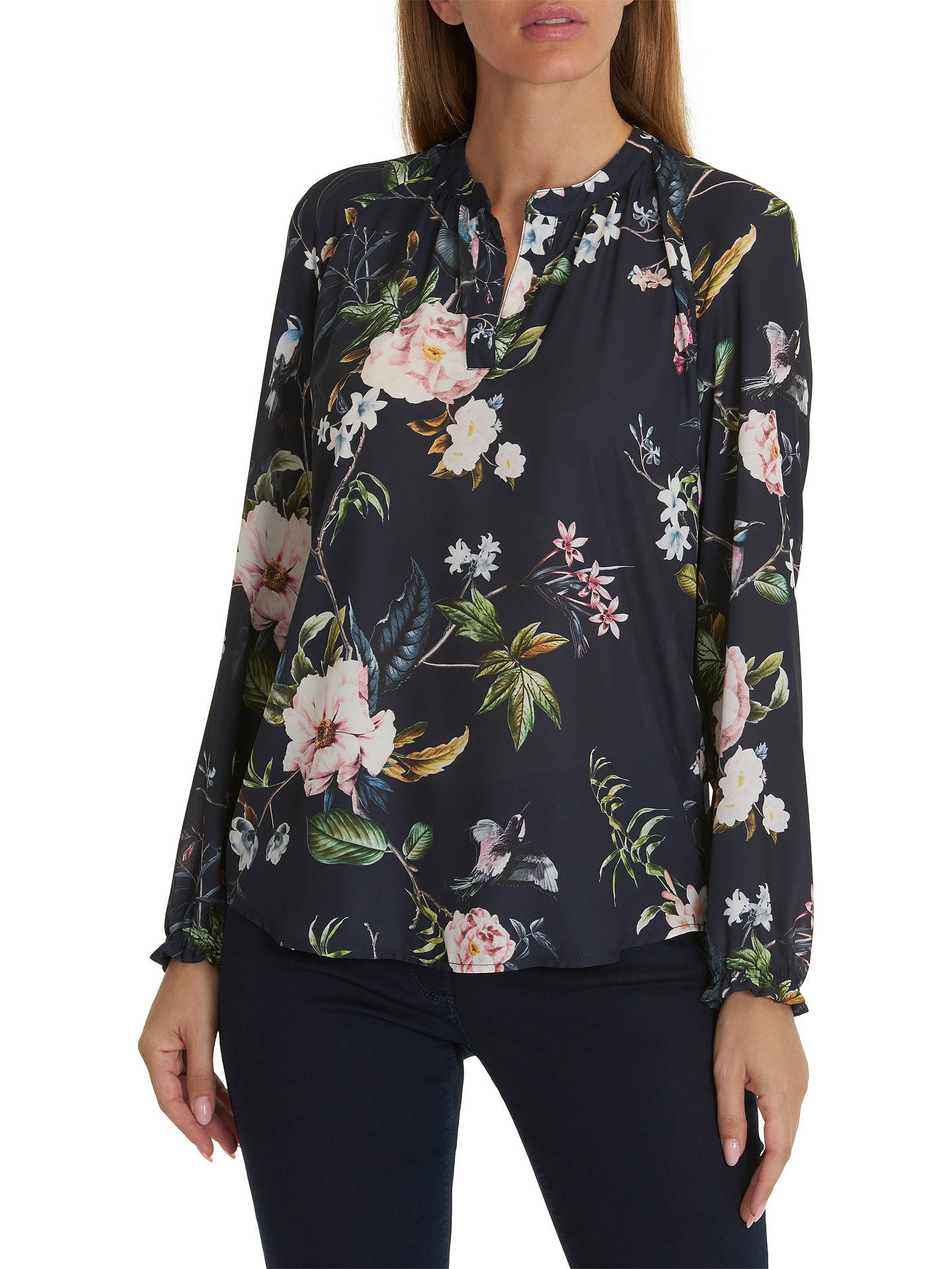 BuyBetty Barclay Floral Print Blouse, Dark Blue Rose, 10 Online at  johnlewis. c48f81e2cc