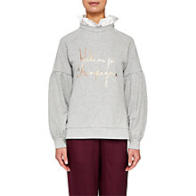 Buy Ted Baker Kinslie Champagne Logo Frill Sweater, Light Grey Online at johnlewis.com