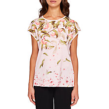 Buy Ted Baker Roozie Peach Blossom Woven Front T-Shirt, Light Pink Online at johnlewis.com
