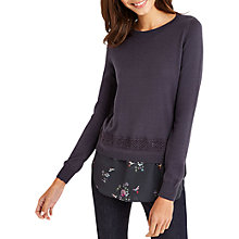 Buy Oasis Illustrator Hem Knit Top, Dark Grey Online at johnlewis.com