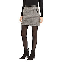 Buy Oasis Marley Check Faux Leather Trim Mini Skirt, Grey Online at johnlewis.com