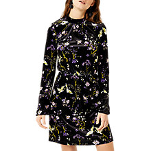 Buy Warehouse Floral Bird Print Velvet Dress, Multi Online at johnlewis.com