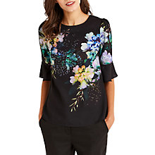 Buy Oasis Fairytale Flute Sleeve Top, Multi/Black Online at johnlewis.com