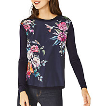 Buy Oasis Illustrator Floral Print Jumper, Navy Online at johnlewis.com
