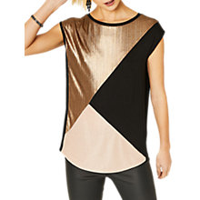 Buy Oasis Livia Colour Block T-Shirt, Gold/Multi Online at johnlewis.com