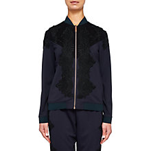 Buy Ted Baker Sadiet Colour Block Lace Bomber, Navy Online at johnlewis.com