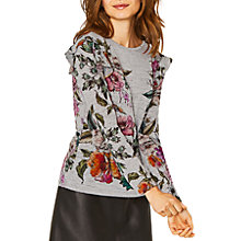 Buy Oasis Illustrator Floral Print Ruffle Shoulder Top, Grey/Multi Online at johnlewis.com