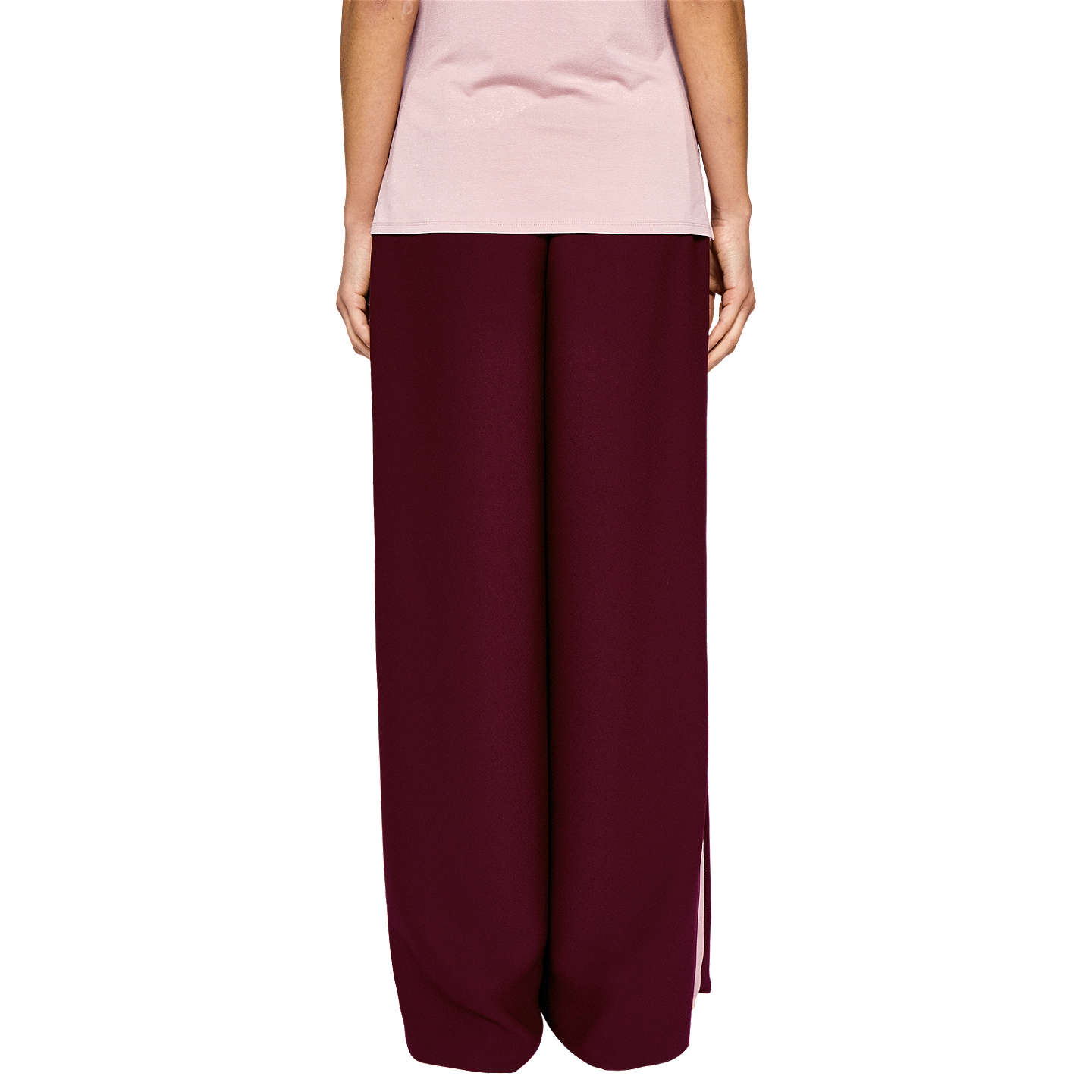 BuyTed Baker Ted Says Relax Yuli Grosgrain Side Stripe Wide Leg Trousers, Oxblood, 1 Online at johnlewis.com