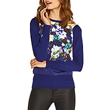 Buy Oasis Fairytale Woven Front Knit Jumper, Rich Blue Online at johnlewis.com