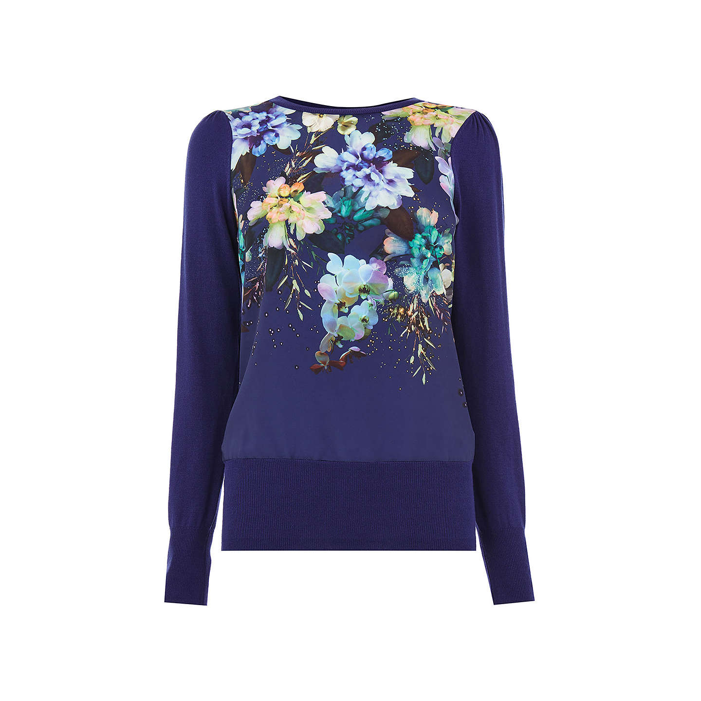 BuyOasis Fairytale Woven Front Knit Jumper, Rich Blue, XS Online at johnlewis.com