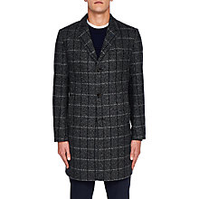 Buy Ted Baker Ando Check Overcoat, Charcoal Online at johnlewis.com
