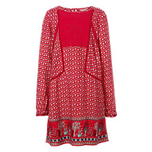 Buy Fat Face Girls' Isla Embroidered Print Dress, Red Online at johnlewis.com