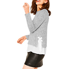Buy Oasis Side Tie Cosy Knit Top, Pale Grey Online at johnlewis.com