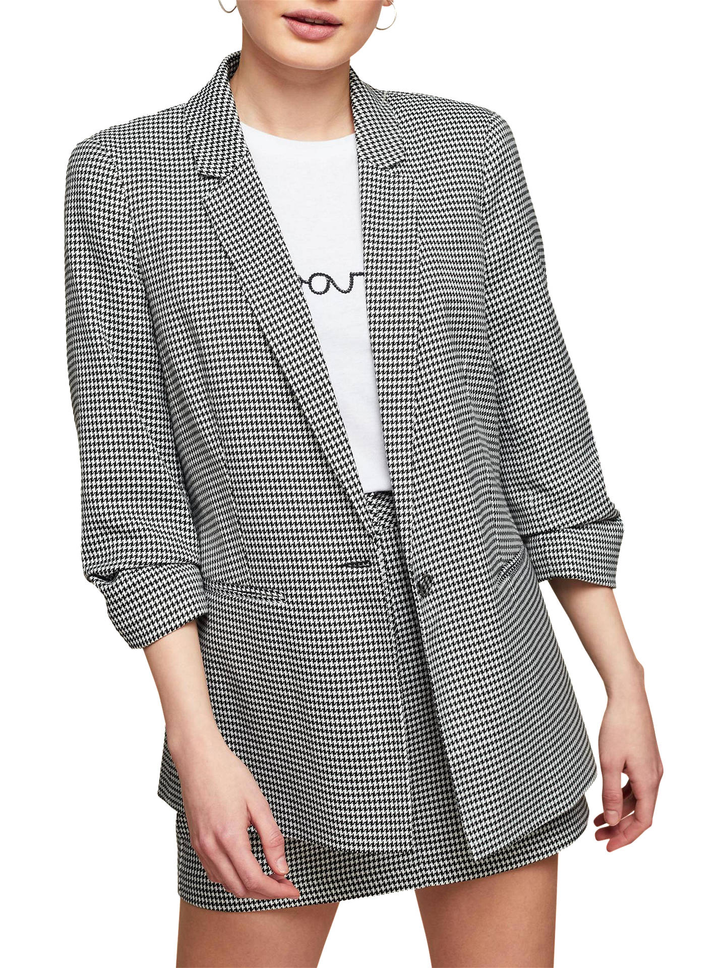 a868bb115 Miss Selfridge Petite Dogtooth Check Blazer, Black/White at John ...