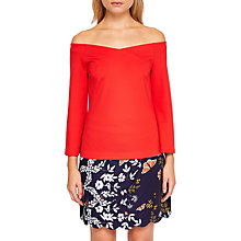 Buy Ted Baker Iryne Bell Sleeved Bardot Top, Bright Red Online at johnlewis.com