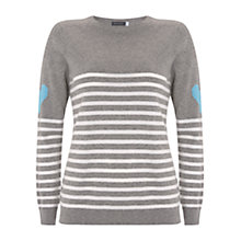 Buy Mint Velvet Stripe Heart Detail Jumper, Multi Online at johnlewis.com