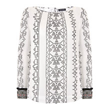 Buy Mint Velvet Embroidered Cuff Blouse, Multi Online at johnlewis.com