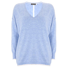 Buy Mint Velvet Tipped Cocoon Knit Jumper, Blue Online at johnlewis.com