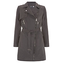 Buy Mint Velvet Zip Detail Metallic Trench Coat, Grey Online at johnlewis.com