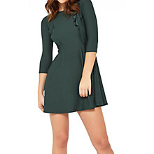 Buy Miss Selfridge Petite Frill Skater Dress, Dark Green Online at johnlewis.com
