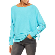 Buy Mint Velvet Lace Up Sleeve Batwing Jumper, Light Blue Online at johnlewis.com