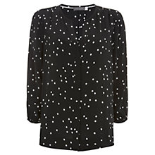 Buy Mint Velvet Spot Print Blouse, Black/Multi Online at johnlewis.com