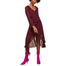 Buy Miss Selfridge Frill Midi Dress, Burgandy Online at johnlewis.com