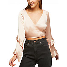Buy Miss Selfridge Petite Wrap Blouse, Pink Online at johnlewis.com