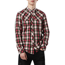 Buy Diesel S-Plany Pointed Yoke Check Shirt, Pink/Green Online at johnlewis.com