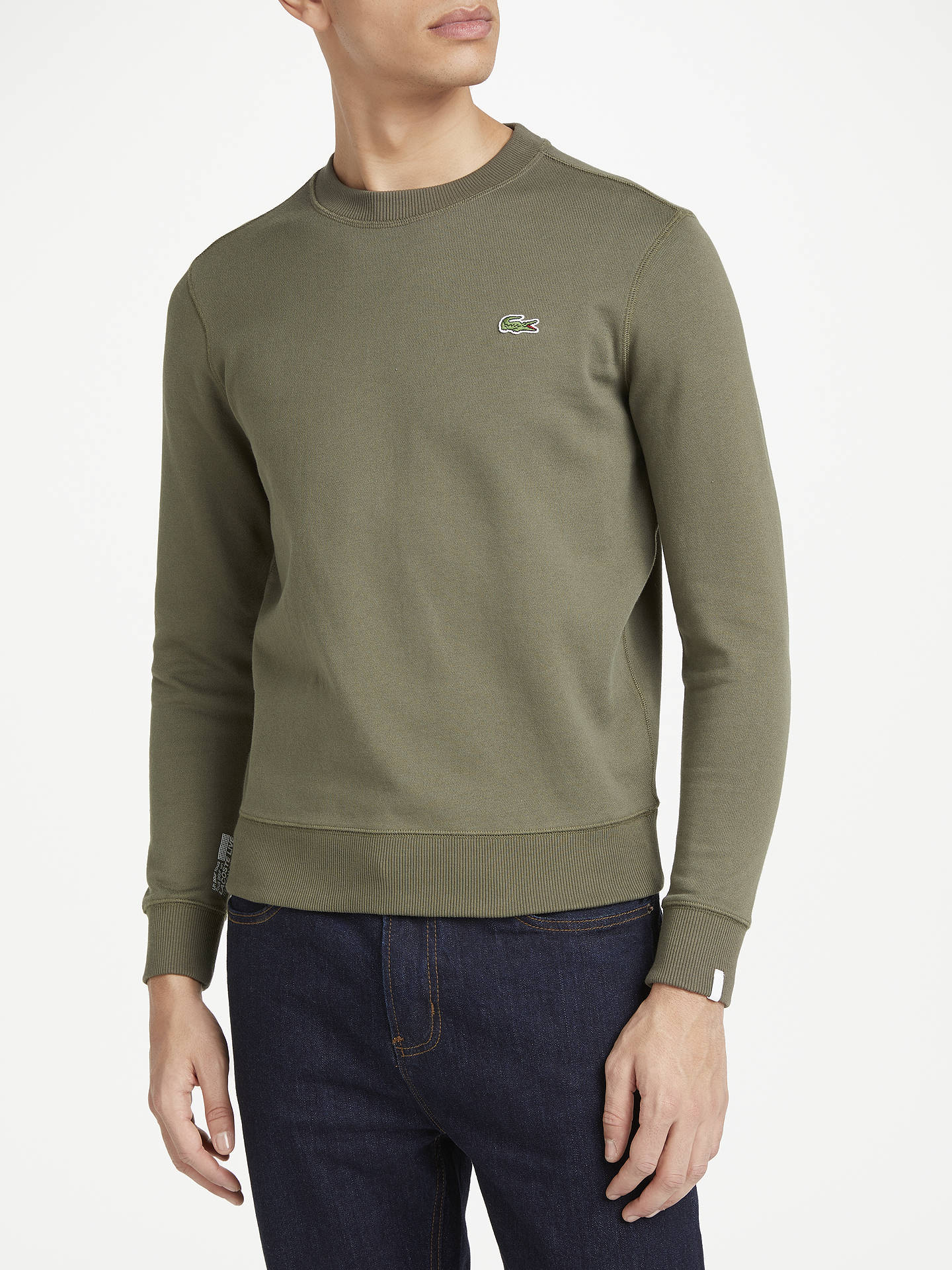 ac95520d Lacoste LIVE Crew Neck Sweatshirt, Army Green at John Lewis & Partners