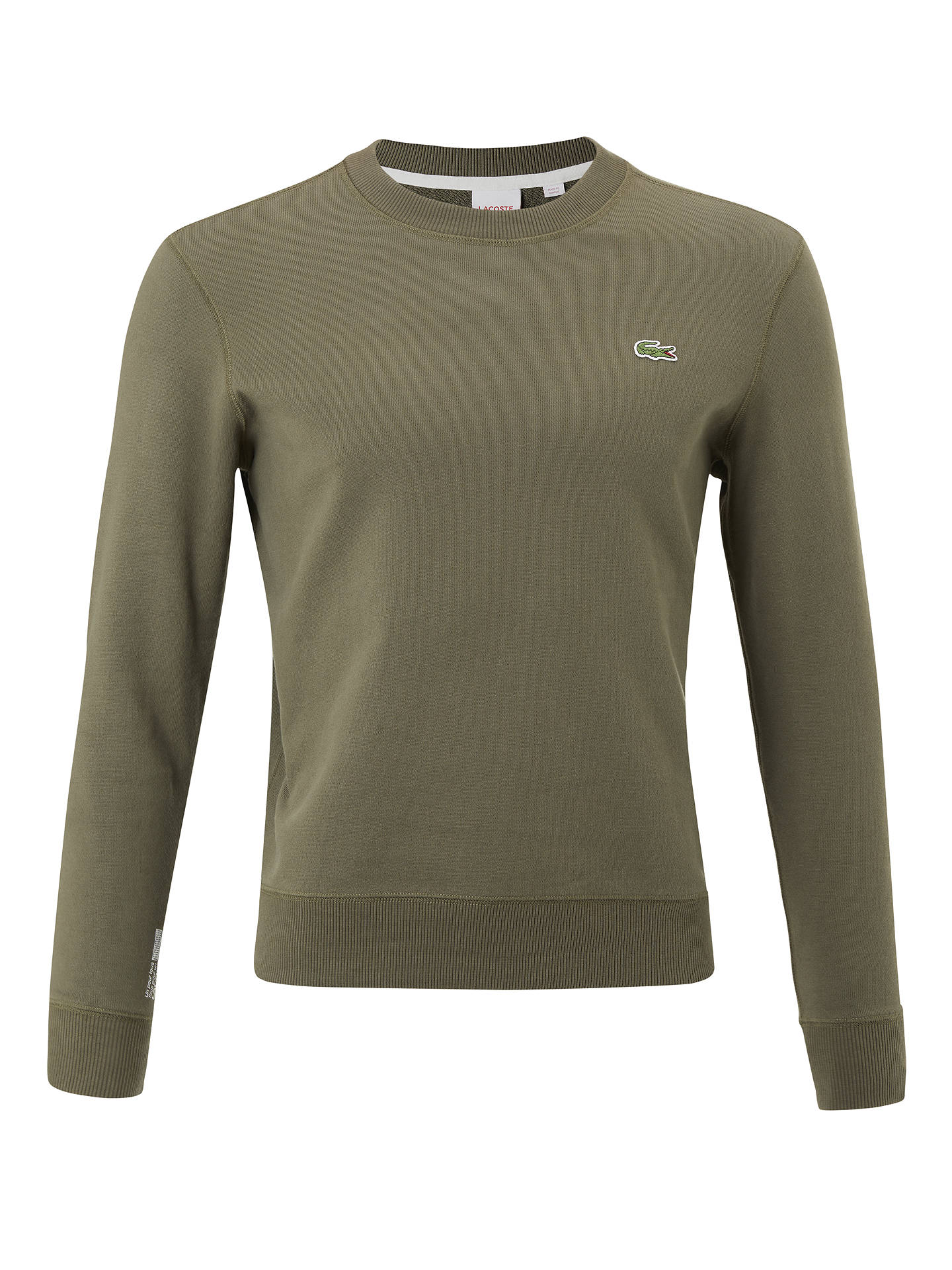 1012fa06 Lacoste LIVE Crew Neck Sweatshirt, Army Green at John Lewis & Partners