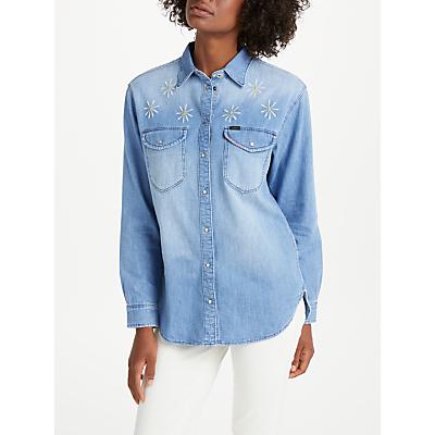 Lee Oversized Embroidered Denim Shirt, Sun Fade Damage