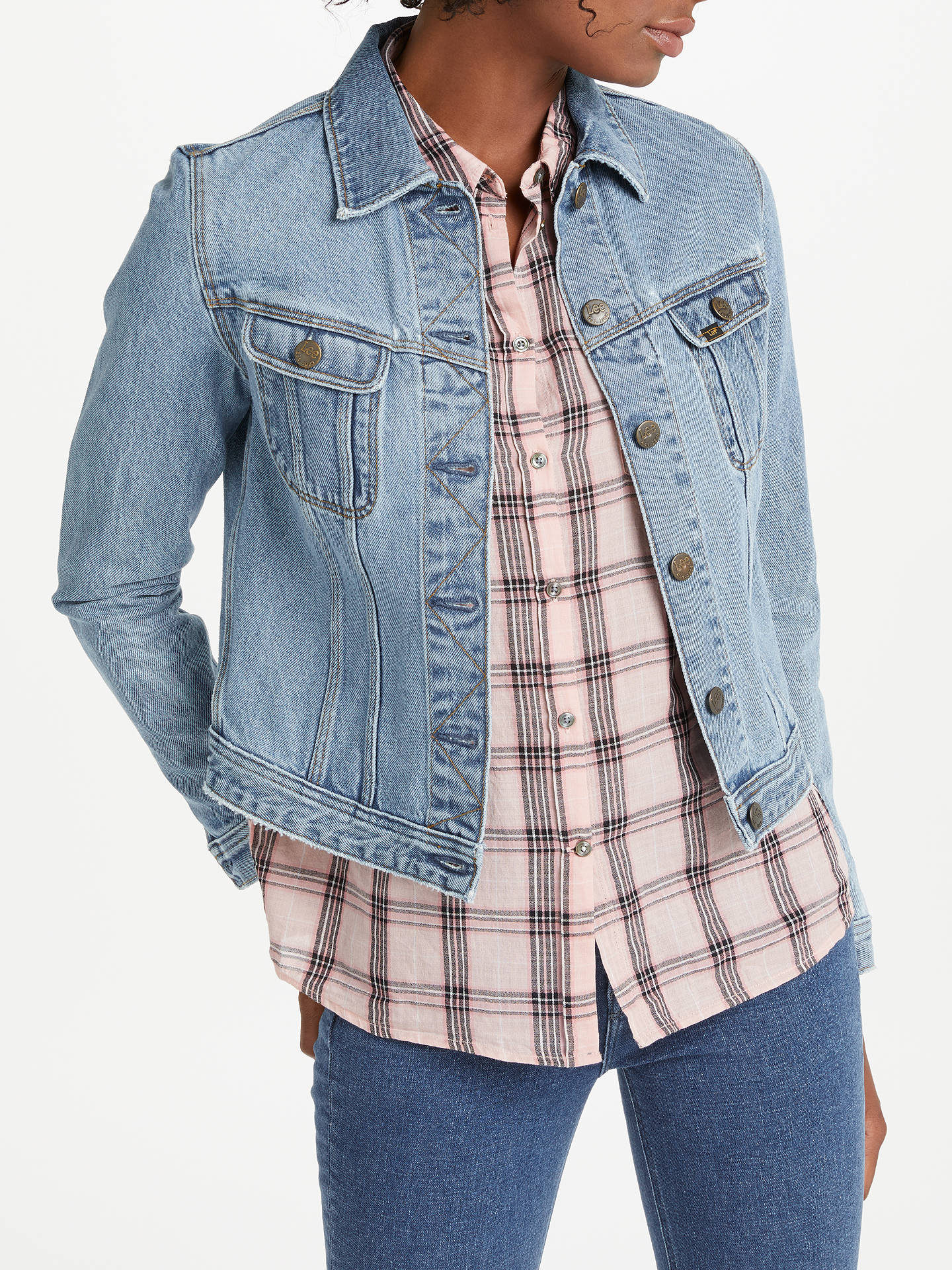 99bf5999 Buy Lee Slim Rider Denim Jacket, Super Stonewash, XS Online at  johnlewis.com ...
