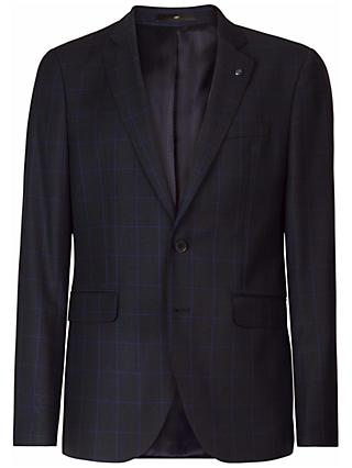 Jaeger Wool Birdseye Windowpane Check Suit Jacket, Navy