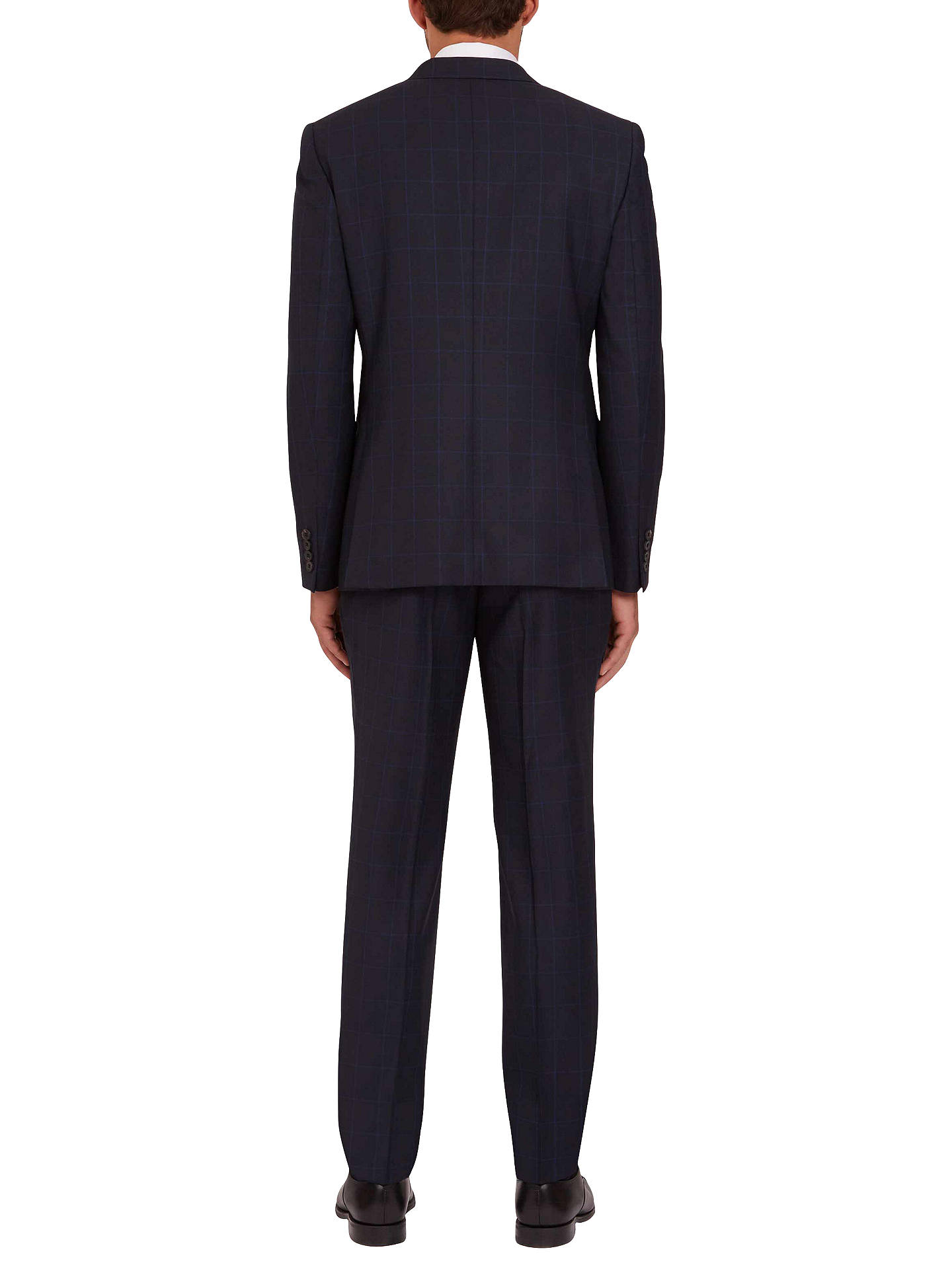 BuyJaeger Wool Birdseye Windowpane Check Suit Jacket, Navy, 36R Online at johnlewis.com