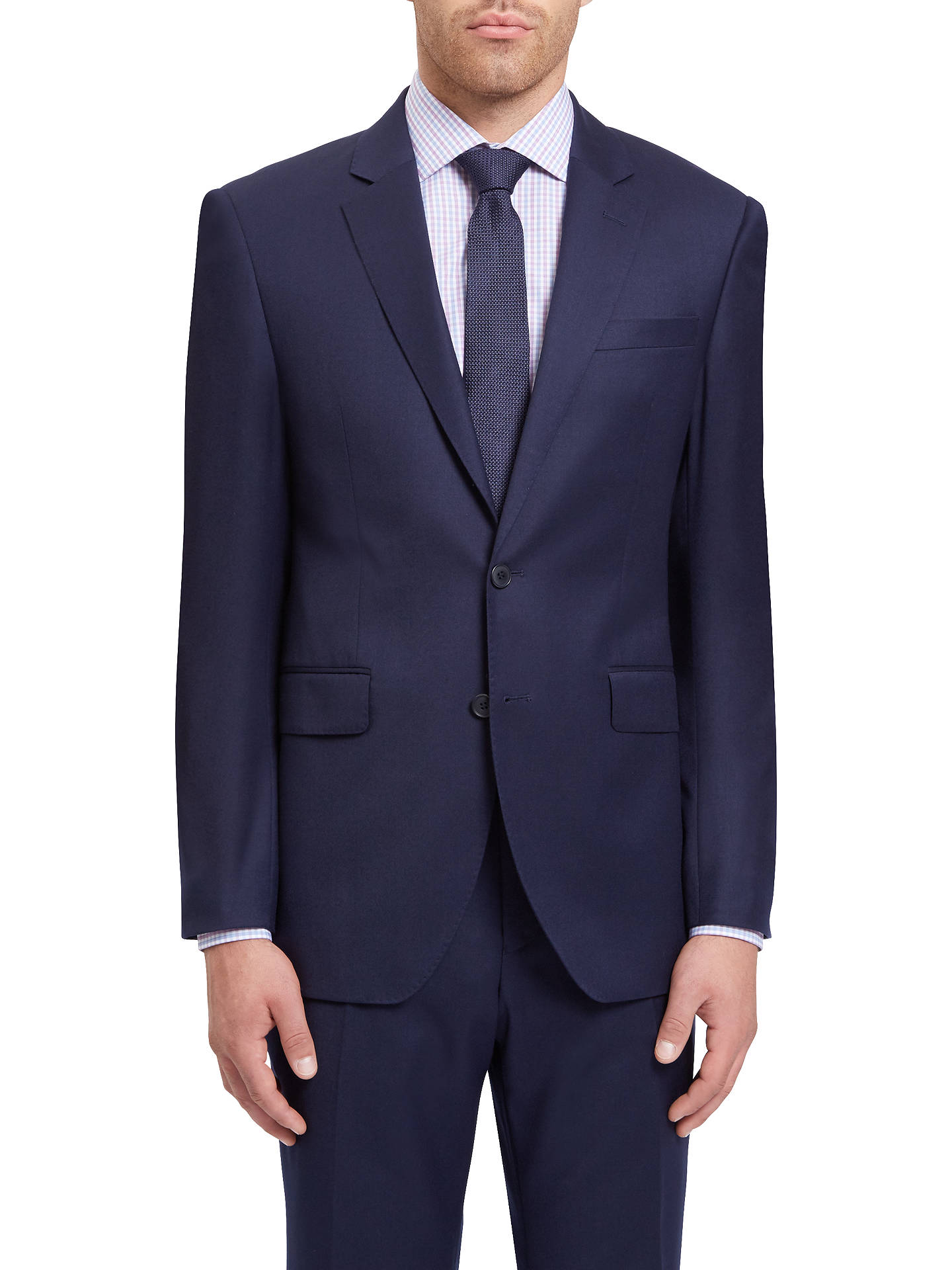 BuyJaeger Wool Flannel Regular Fit Suit Jacket, Navy, 40R Online at johnlewis.com