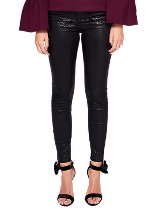 Buy Ted Baker Lagoona Textured Skinny Jeans, Black, 25R Online at johnlewis.com