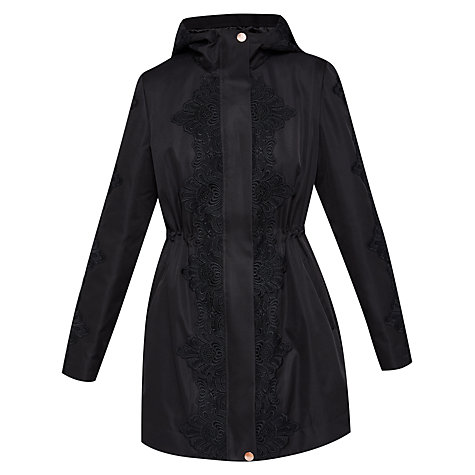 Buy Ted Baker Luceen Lace Detail Parker, Black Online at johnlewis.com