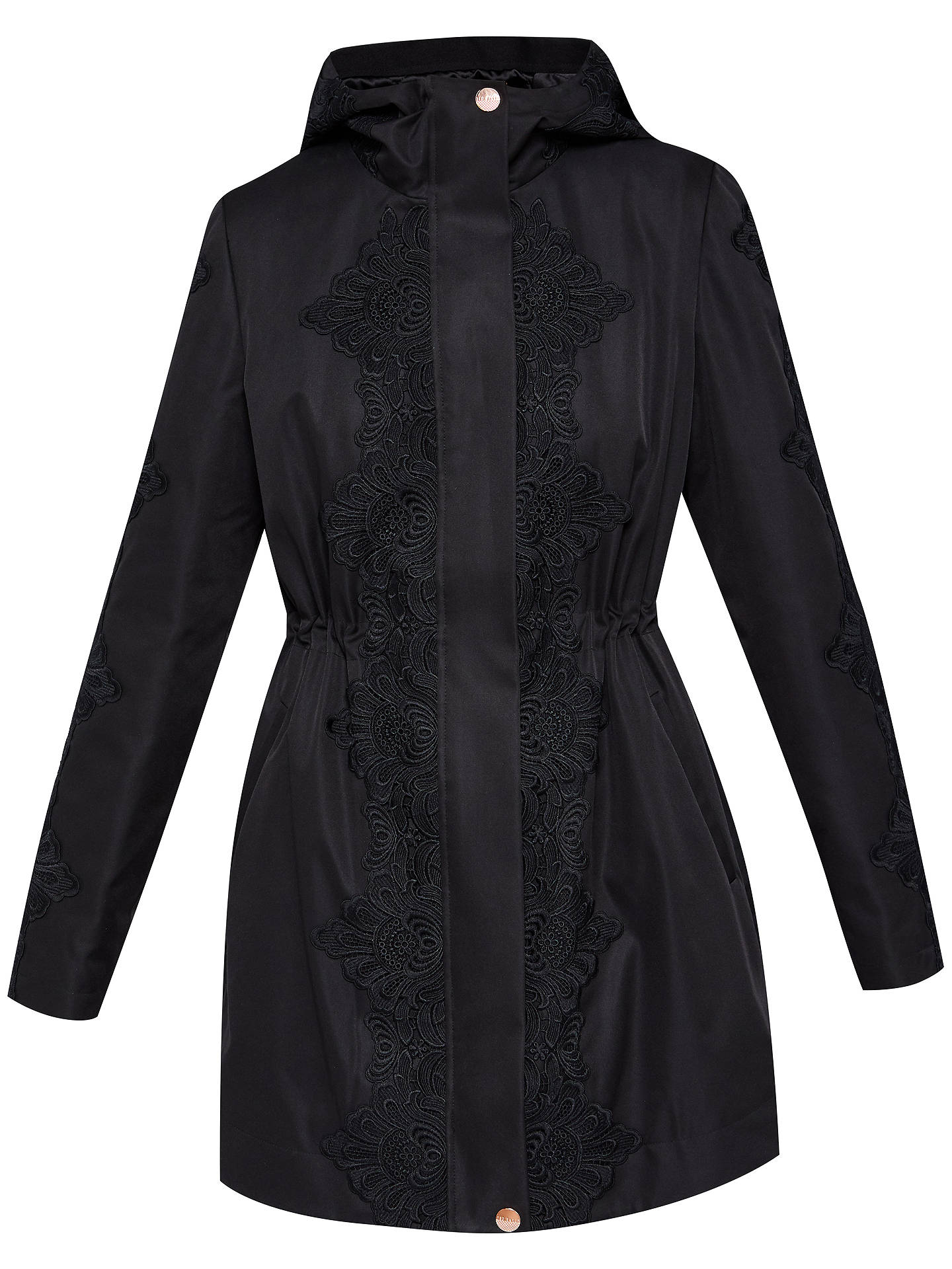 BuyTed Baker Luceen Lace Detail Parker, Black, 0 Online at johnlewis.com