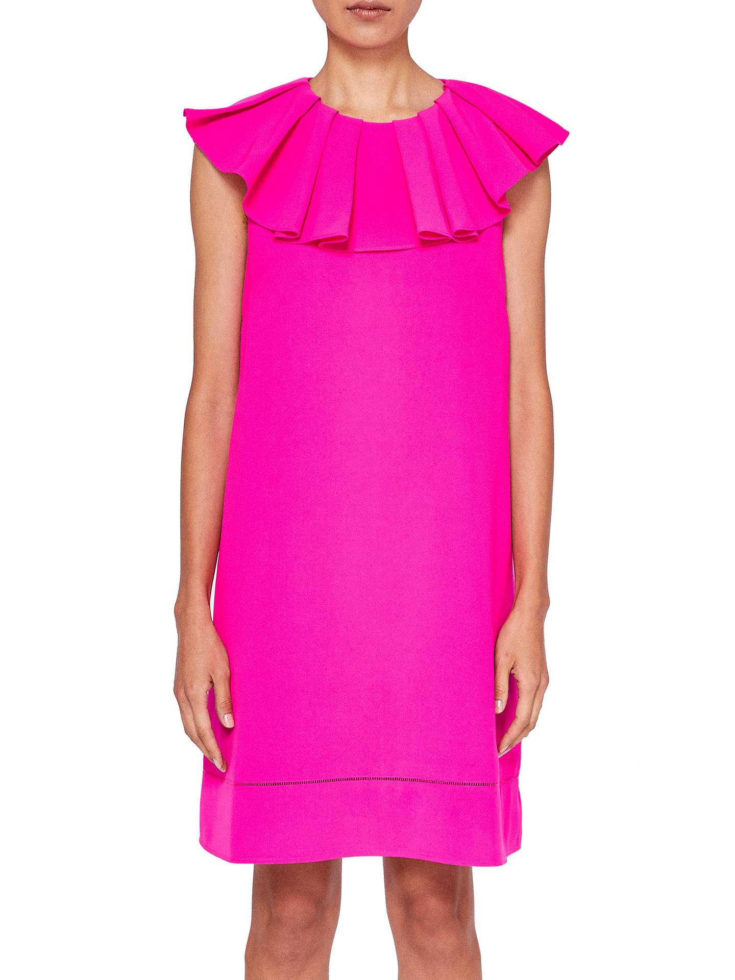 3a7ec7d3c96bf0 Buy Ted Baker Clarees Ruffle Neck Dress, Bright Pink, 0 Online at johnlewis.